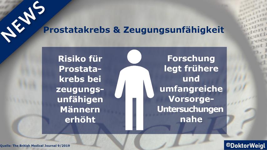Zusammenhang zwischen Prostatakrebs und Zeugungsunfähigkeit